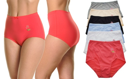 Cotton-Blend High-Waist Briefs with Floral Embroidery (6-Pack)