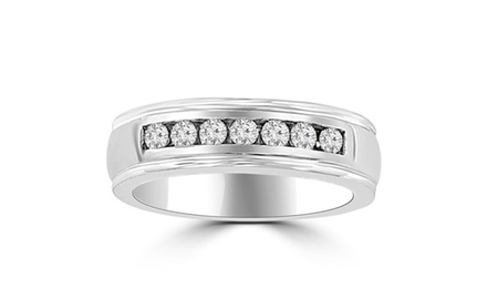 0.40 ct Ladie's Round Cut Diamond Wedding Band in 14 kt White Gold