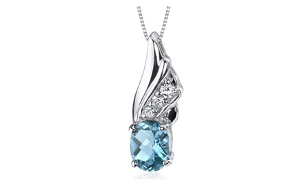 Swiss Blue Topaz Pendant Necklace Sterling Silver Oval 1.5 Cts SP9166