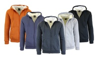 Men's Sherpa-Lined Fleece Hoodie with Dual Kangaroo Pocket