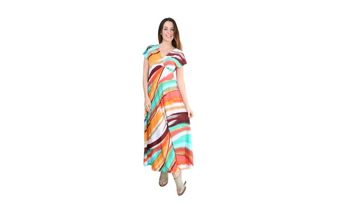 Women's Hot and Cool Brush Stroke Printed Maxi Dress