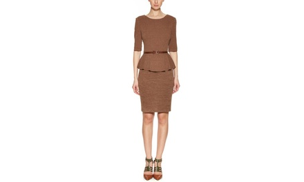 CONNECTED Elbow Sleeve Belted Peplum Sweater Dress