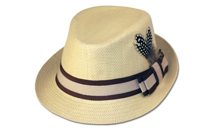 Sakkas Unisex Structure 100% Paper Straw Match Feather Band Fedora Hat