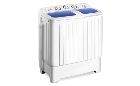 Goplus Portable Mini Compact Twin Tub 17.6lb Washing Machine Spinner photo