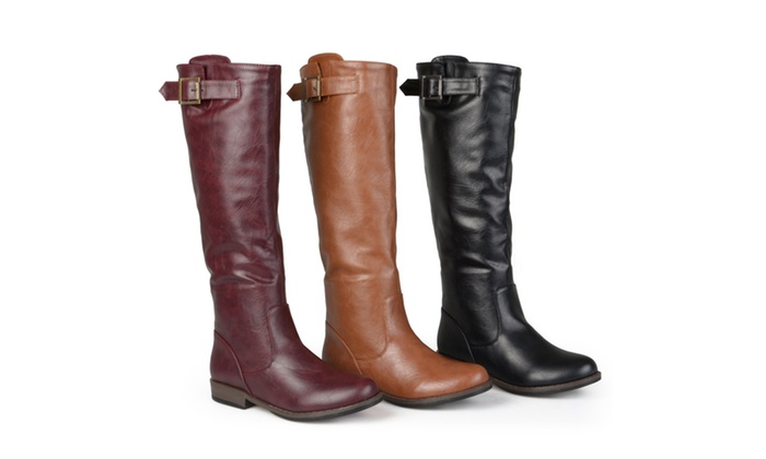 4accc948a7ba Journee Collection Womens Wide-Calf Buckle Knee-High Riding Boots ...