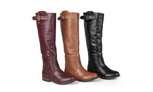 Journee Collection Womens Wide-Calf Buckle Knee-High Riding Boots