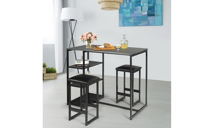 3 Piece Pub Set Industrial Style Faux Marble Top Table and 2 Stools Dining Set