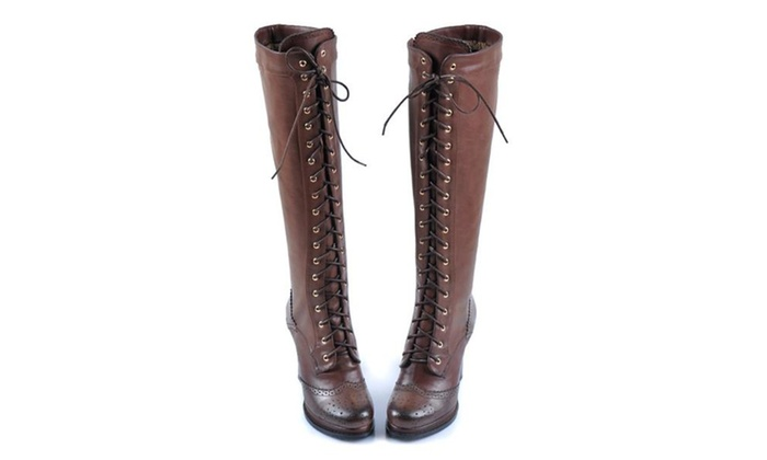 Women's High Chunky Leather Booties