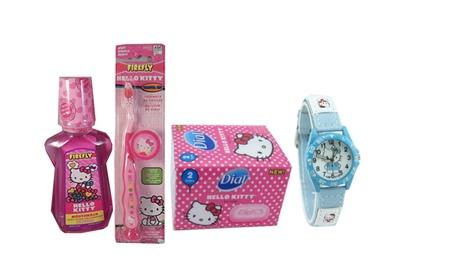 Hello Kitty 3 Piece Kids Bath Set PLUS Sport Style Wrist Watch ec7a5299-87cf-4d9d-9fc2-5c30d02427ec