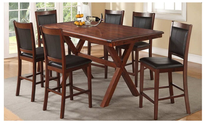 Konya 7 Pieces Dining Set In Walnut Finish