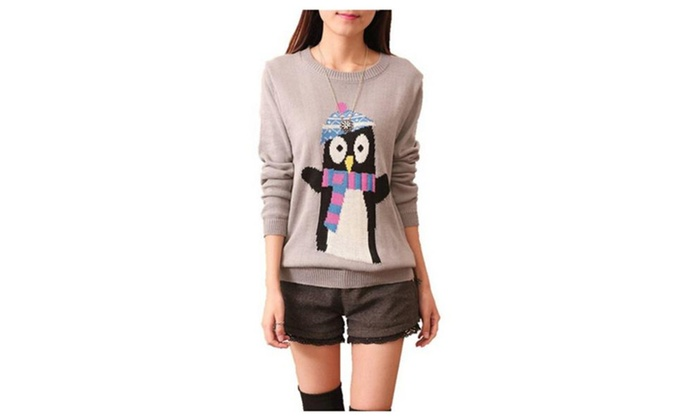 Women's Winter Christmas Penguin Knitted Pullover Sweaters Jumper