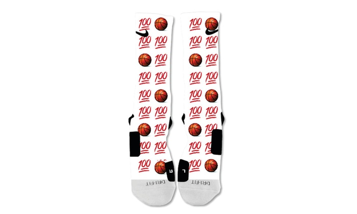62ff26dfd48 Custom Nike Elite Socks Emoji 100 basketball | Groupon