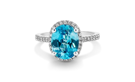 18k Diamond and Blue Zircon Fashion Ring ( 4 1/2 ct tw)