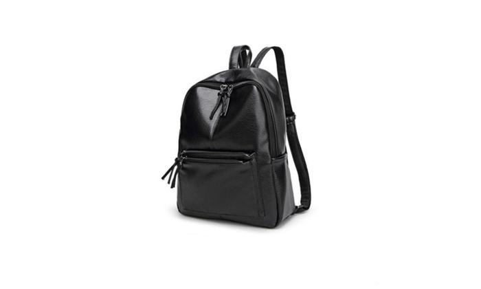 Korean Women Backpack Leisure Student Schoolbag Soft PU Leather