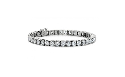 5.00 ct Ladies Traditional Round Cut Diamond Tennis Bracelet in 14 kt White Gold