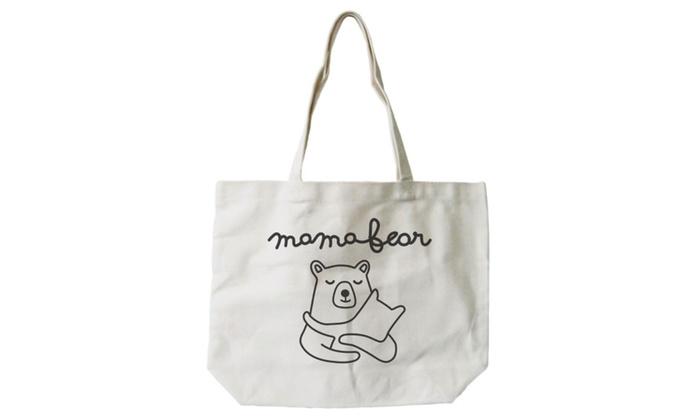 f3f91013ea7c Mamabear Women's 100% Cotton Canvas Tote Bag, Reusable Eco-bag, Shopping  Bag - Mother's Day Gift Idea