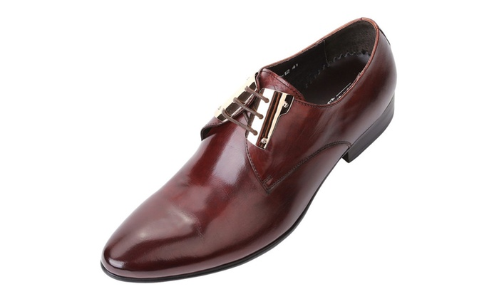 Shefetch Men's Pointed Head Oxford Leather Shoes