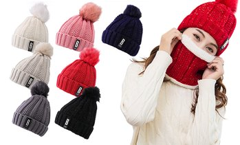 Women Knit Beanie Scarf Hat Set Thick Winter Pompom Hat