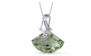 Green Amethyst Pendant Sterling Silver Shell Cut 13 Carats Sp8858