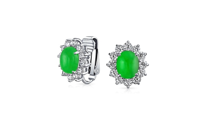 3b8cd1ac71806 Up To 58% Off on Oval Simulated Jade Clip On S... | Groupon Goods