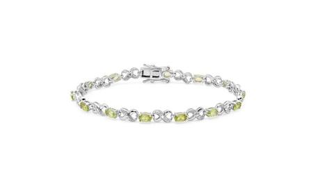 3.18ctw Sterling Silver Peridot & White Diamond Infinity Link Bracelet 89ad2cd1-17bf-48f8-bf2c-553a18abd5ca