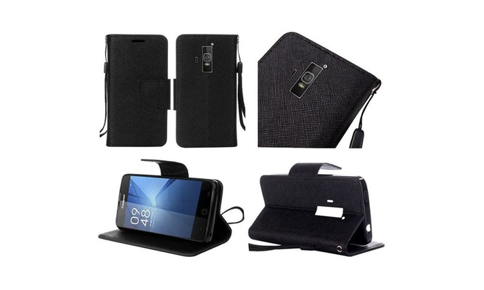 Groupon Goods: Insten Flip Leather Fabric Case Lanyard stand For Coolpad Rogue Black
