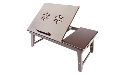100% Bamboo Adjustable Laptop Desk Foldable Bed Tray Table