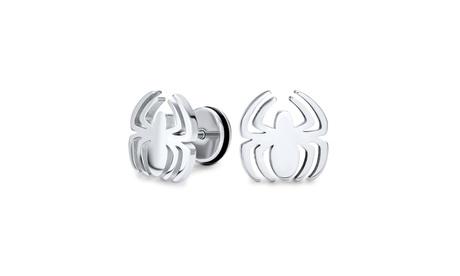 Black Spider Faux Stud Plug Ear Surgical Steel 16G Stud Earrings