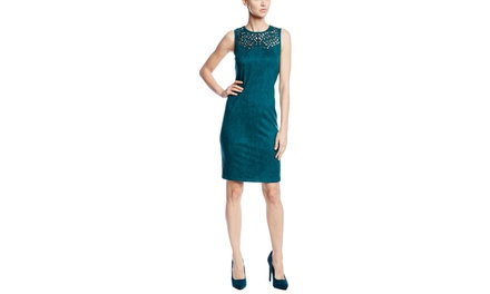 SPENSE Suede Sleeveless Shift Dress with Laser Cut Neckline
