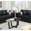 Sanremo Loveseat and Sofa Upholstered in Black Faux Leather