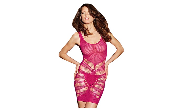 Women's Seamless Open Patterned Rose Chemise Lingerie - one size