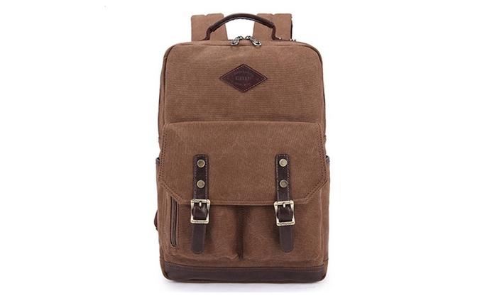 Canvas Backpack Rucksack School Travel Bag