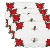 Decorative Christmas Embroidered Poinsettia Placemats, Set of 4