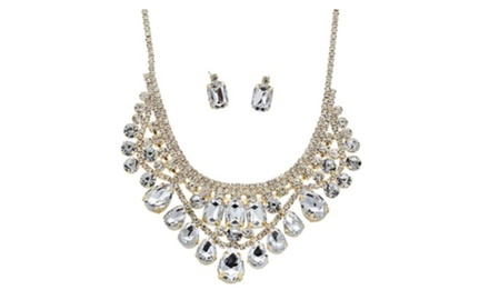 Sparkling Rhinestone Vintage Statement  Wedding Necklace Set