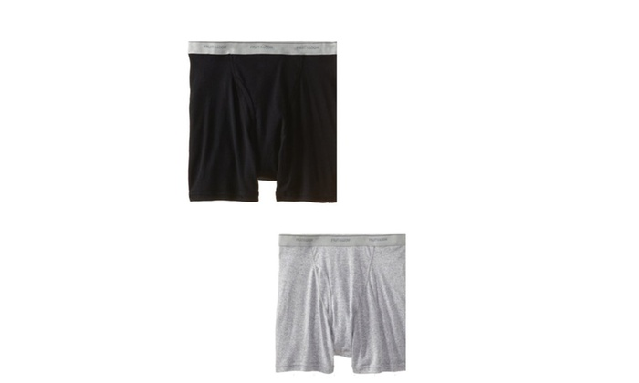 e585e871f9ff Fruit of the Loom Men's Big Man Black/Gray Boxer Brief(Pack Of 2 ...
