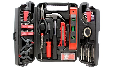 141-Piece Household Hand Tool Set with Plastic Toolbox Storage Carrying Case