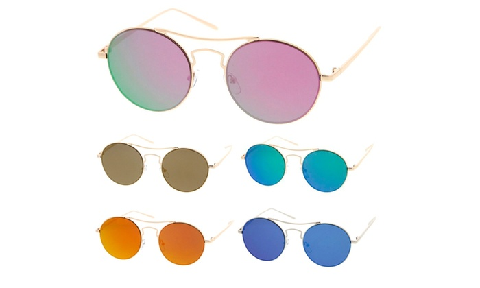 Simple Fashion Wired Round Double Bar Flash Lens Women Sunglasses Model S60W3205