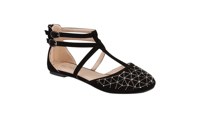 Beston GB27 Women's Comfy Gladiator Style Double Strap Flats Shoes