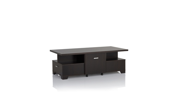 Bedell Espresso Removable Drawer Raised Top Coffee Table Groupon