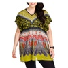 Blue Plate Women's Green Boho V-Neck Kaftan Dress - Plus Size