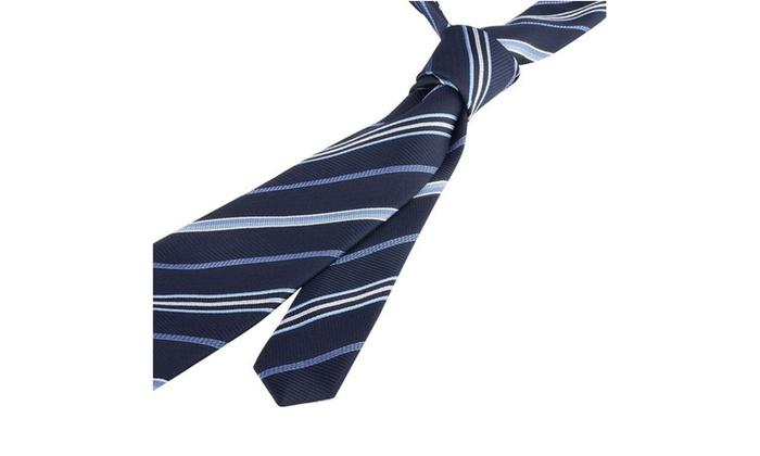 Zodaca Striped Business Wedding Twill Necktie Mens Tie Navy Blue