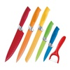 6-Piece Set: Colorful Ceramic-Coated Steel Knives with Peeler