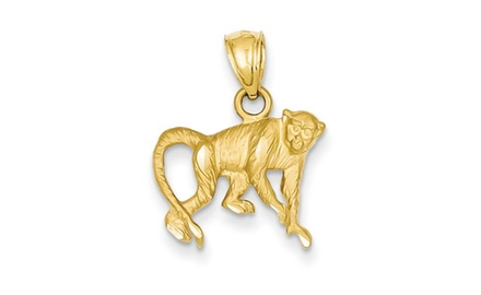 IceCarats Designer Jewelry 14K Diamond-cut Monkey Pendant