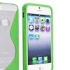 Insten Gummy S Shape Skin Case For Apple iPhone 5 / 5s, Clear / Green