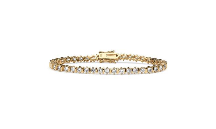 Cz 18k Gold Over Sterling Silver Tennis Bracelet Groupon