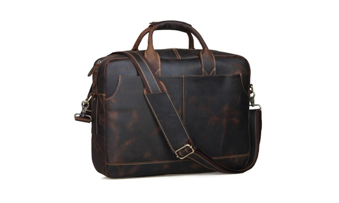 Leather Men's Briefcase Messenger Tote Bag - Brown