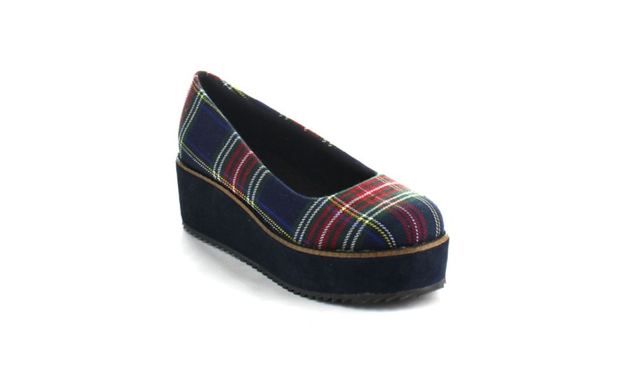 Beston AA92 Platform Plaid Print Slip On Wedge Pumps One Size Bigger