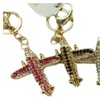 Jeweled Rhinestone Gold-Plated Key Ring, Keychain, Bag Charm-Airplane