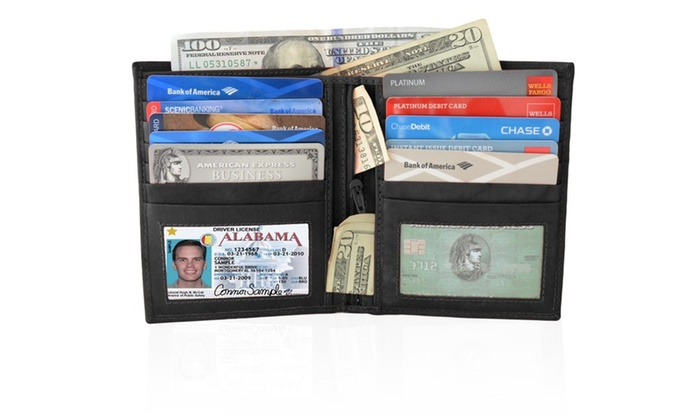 AFONiE Men's Leather Wallet Bifold with 2 ID Window