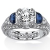 3.20 TCW CZ and Lab Created Blue Sapphire Ring